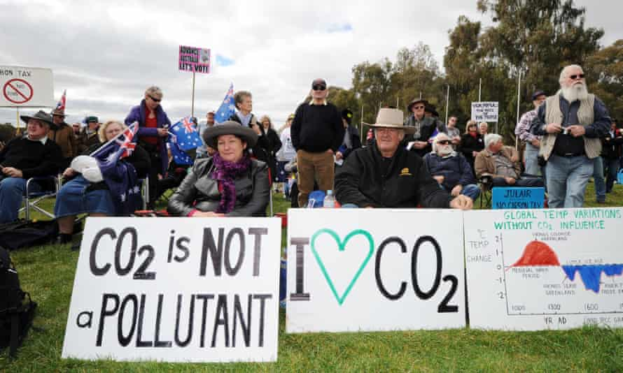 Protesters in Canberra, 2011, to plans in Australia to introduce a price on greenhouse gas emissions.