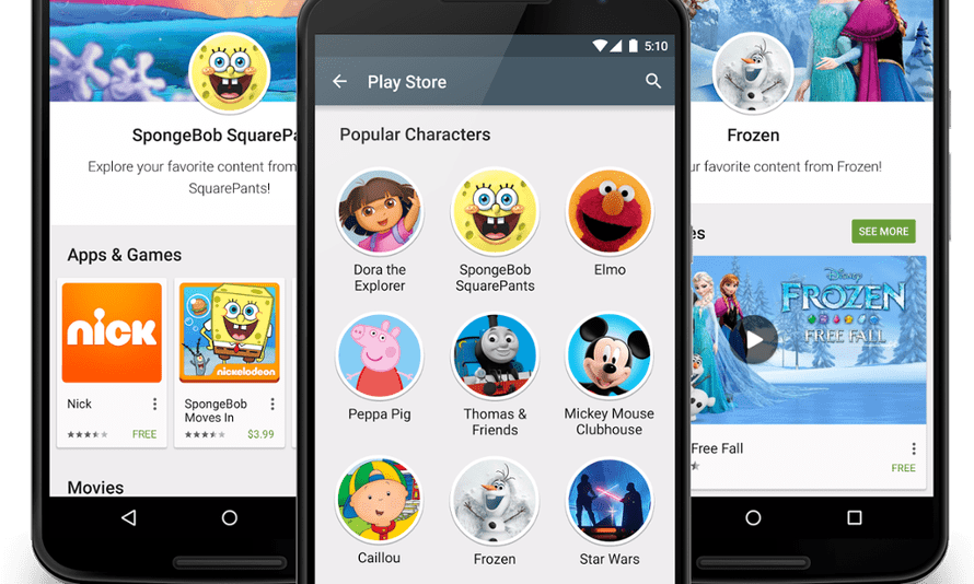 Popular children's brands will have their own pages on Android's Google Play store.