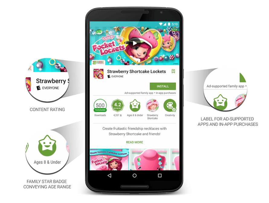Android apps will now show age-ratings and advertising alerts.