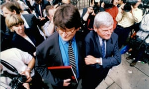 Alan Rusbridger and Peter Preston at the High Court in London during the Aitken libel trial in 1997.