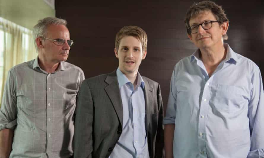 Edward Snowden being interviewed by Alan Rusbridger and Ewen Macaskill in Russia.