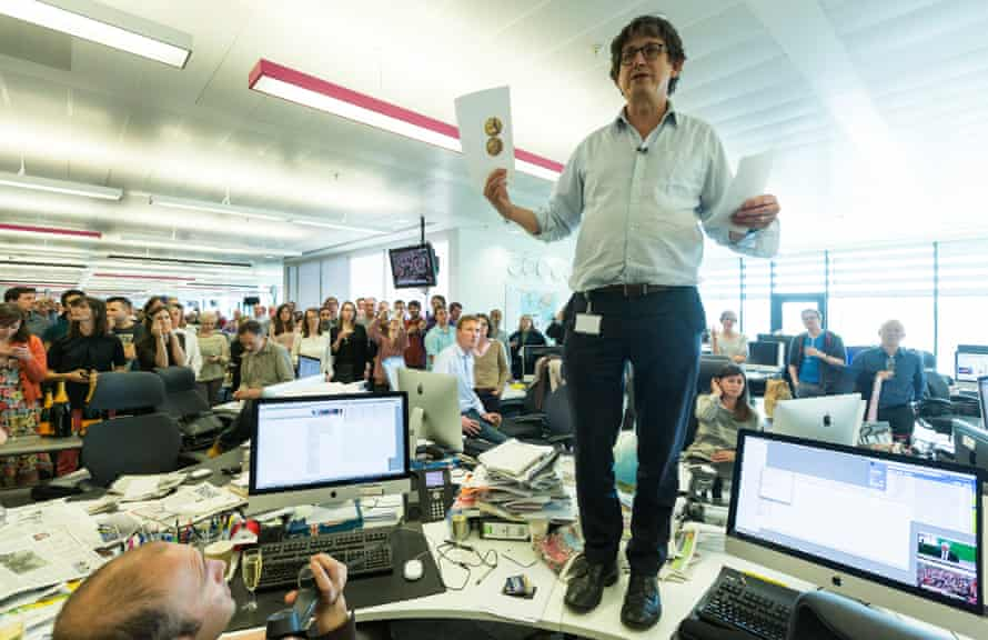 Alan Rusbridger addresses staff in the news room at the Guardian's office in Kings Cross in London after the paper was awarded a Pulitzer prize for public service in 2014.