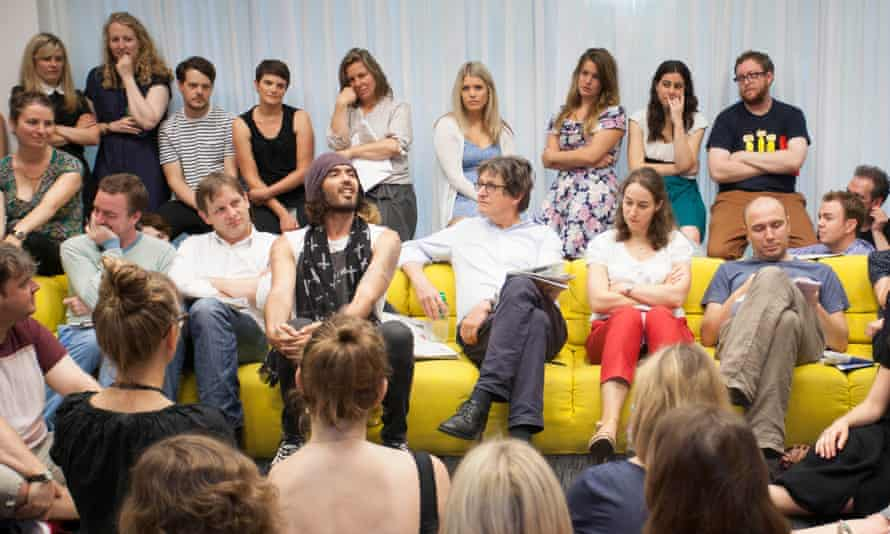 Russell Brand and Alan Rusbridger at the Guardian's morning conference in August 2013.