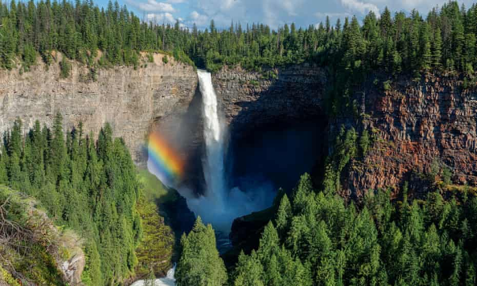 Wells Gray Provincial Park, British Columbia, Canada --- Rainbow formed by mist from Helmck