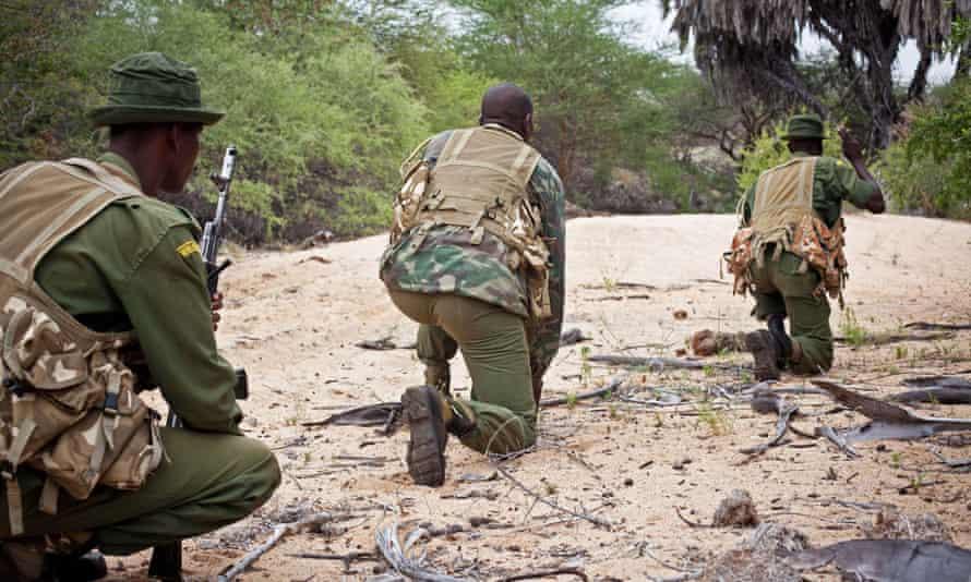An anti-poaching squad from the Kenya Wildlife Service on patrol in Kora national park.