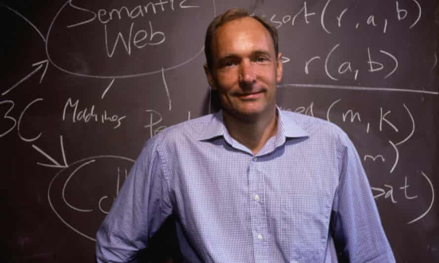 Tim Berners-Lee, inventor of the World Wide Web, stands at a chalkboard in 1999.