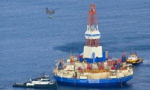 The Shell floating drill rig off Kodiak Island in Alaska's Kiliuda Bay, in 2013
