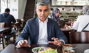 'I get the science and the art of winning elections' … Sadiq Khan in his local curry house. Photogra