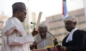 Nigerian president Mohammadu Buhari takes the oath of office.