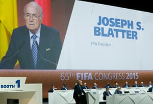 Sepp Blatter delivers his speech.
