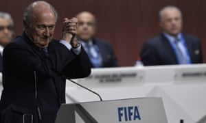 Sepp Blatter celebrates after his re-election as Fifa president.