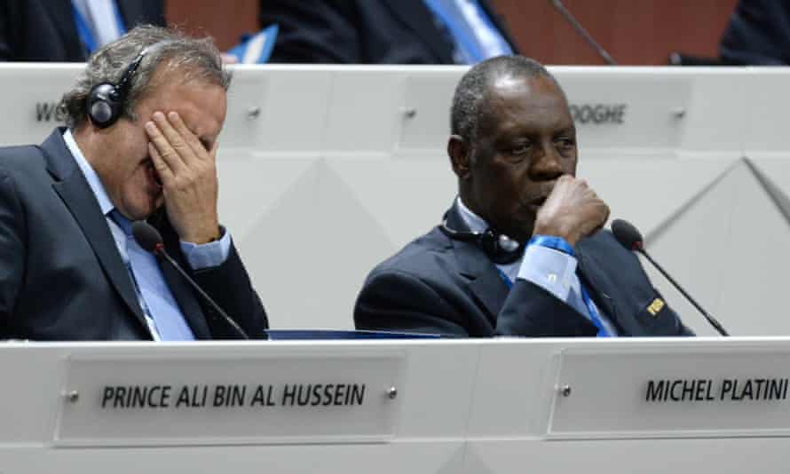 Issa Hayatou, right, the head of the African Confederation, helped to deliver a victory for Sepp Blatter that will dismay his Uefa counterpart, Michel Platini, left.
