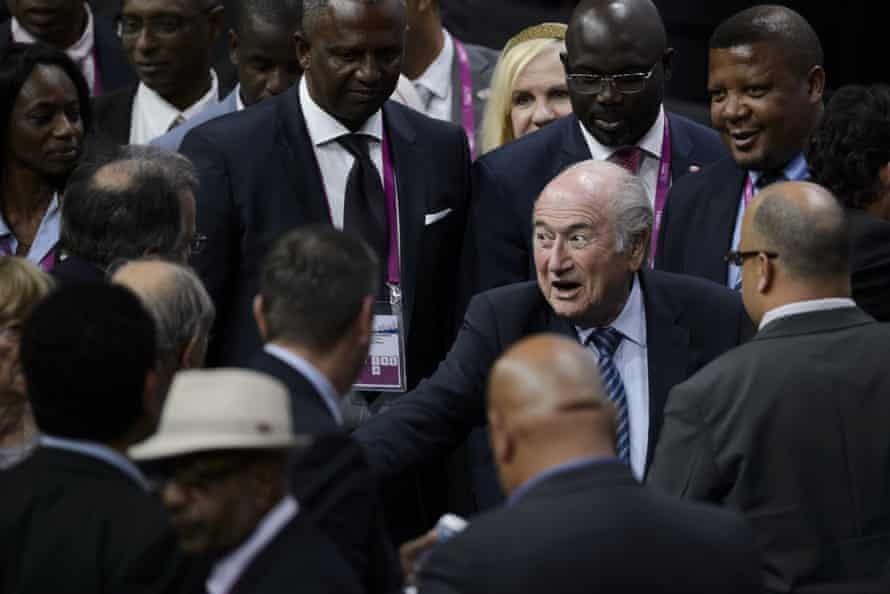 Blatter is congratulated after winning a fifth term as Fifa president.