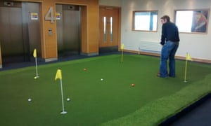 The indoor putting green at Ryanair's HQ.