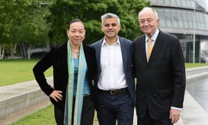 Sadiq Khan announcing he will run for London mayor, pictured with supporters Oona King and Ken Livingstone. Photograph: Evening Standard/eyevine