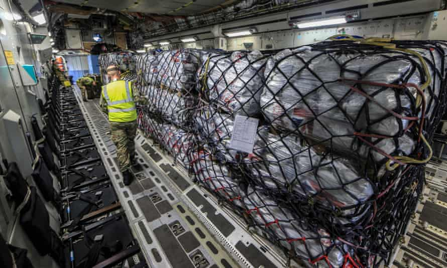 Aid for Nepal on board a RAF C17 aircraft in Brize Norton prior to its take off for Kathmandu.