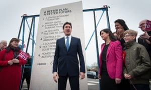Ed Miliband unveils Labour's pledges carved into a stone plinth in Hastings