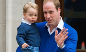 Prince William arrives with Prince George at the Lindo Wing