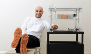 Oluwaseyi Sosanya and his 3D weaving machine.