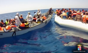 A picture from the Italian navy of one of the migrant rescues.