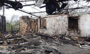 The remains of a residential building destroyed in a shelling attack in the city of Horlivka, Donetsk region, Ukraine