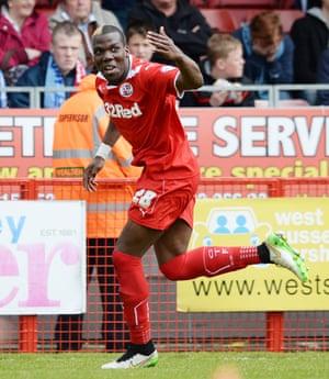 Crawley's Mathias Pogba celebrates scoring their first.