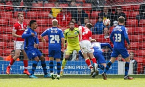 Josh Scowen scores the second for Barnsley.