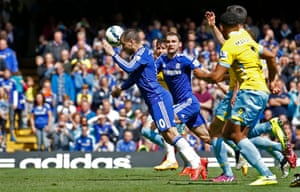 Hazard heads the return to score after his penalty was saved.