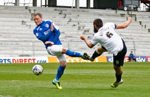 Michael Bostwick scores the first goal for Peterborough