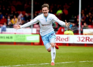 James Maddison of Coventry celebrates after scoring to make it 2-1.
