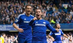 Eden Hazard celebratesthe opening goal.