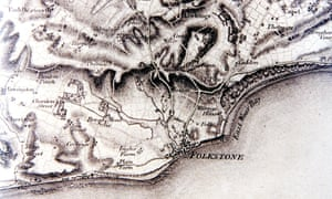Folkstone and its surrounding area as depicted in the first Ordnance Survey map of the south coast i