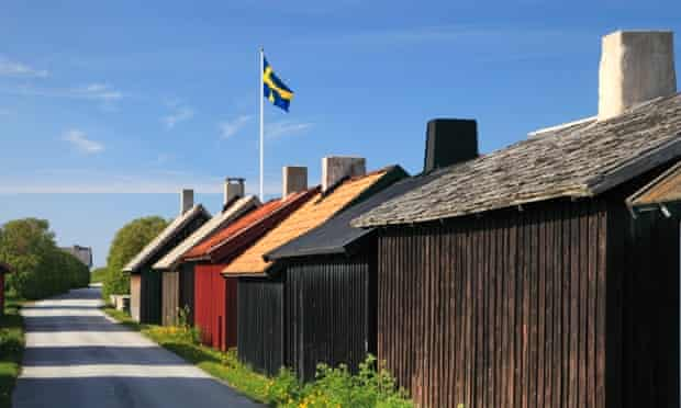 A Swedish flag flies proudly on the island of Gotland.