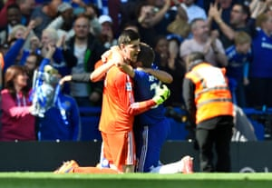Thibaut Courtois and Cesar Azpilicueta celebrate after winning the Barclays Premier League.