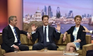 Nick Clegg, flanked by Nigel Farage, left, and Yvette Cooper, right, on the Andrew Marr show on Sunday.