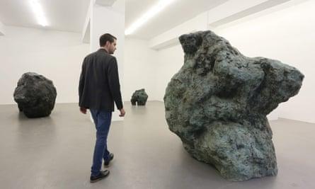 Sculptures entitled Tauro Machi, Adam and Frenhofer by British artist William Tucker at the Buchmann Galerie during Berlin Gallery Weekend.