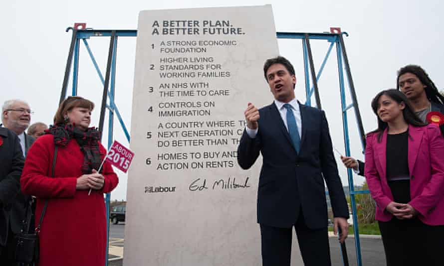 Desperate stuff: Labour leader Ed Miliband unveils Labour's pledges carved into a stone plinth in Ha