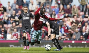 West Ham's Cheikhou Kouyaté is fouled by Michael Duff of Burnley for a clear-cut penalty but the red card seemed very harsh.