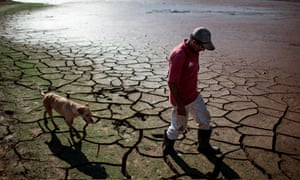 A resident and his dog walk across the drying bottom of the Paraibuna dam, part of the Cantareira water system that provides greater São Paulo with most of its water.