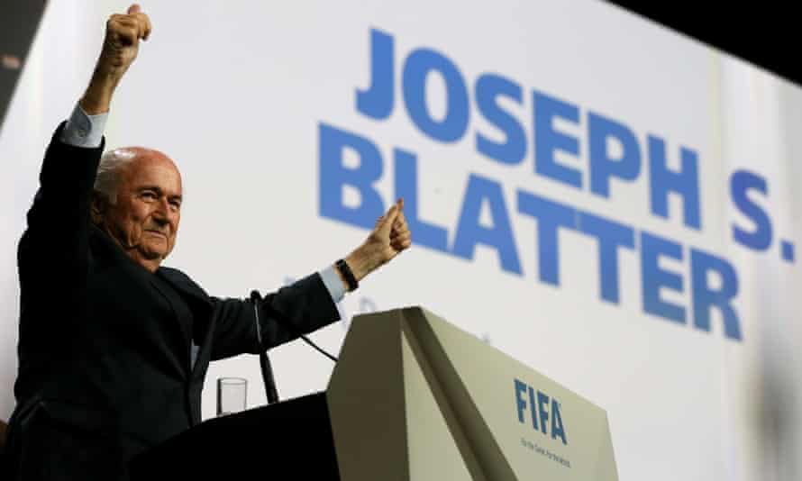 Sepp Blatter celebrates his re-election as Fifa president.
