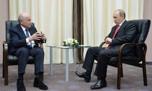 Sepp Blatter meeting Vladimir Putin, recently.
