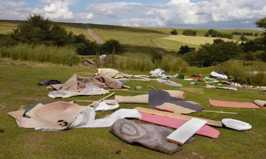 Rubbish dumped on a hilltop at Cefn Crib, Gwent, south Wales