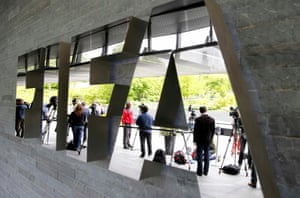 Members of the media stand in front of the Fifa headquarters in Zurich on Saturday.