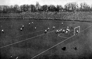 <strong>1901 Tottenham Hotspur v Sheffield United </strong> Tottenham players celebrate after scoring in front of packed terraces at Crystal Palace. The match boasted a then record crowd of 114,000