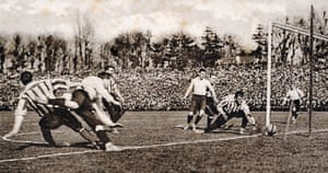 Here Sheffield United goalkeeper William 'Fatty' Foulke is relieved to see the ball go narrowly wide of his goal. The match ended in a 2-2 draw. A replay was held a week later at Burnden Park in Bolton which Tottenham won 3-1
