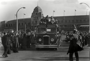 <strong>1953 Blackpool v Bolton Wanderers</strong> The Blackpool team leave Wembley on top of a bus with Harry Johnston and Stan Mortensen holding the trophy after their 4-3 win
