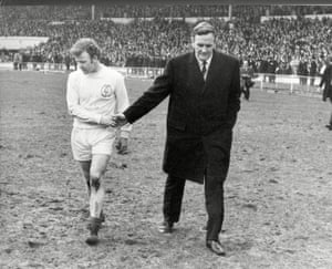1970 Leeds United v Chelsea Leeds manager Don Revie consoles his captain Billy Bremner after Chelsea scored a late goal to send the game to a replay