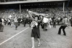 <strong>1975 West Ham United v Fulham</strong> Jubilant West Ham fans celebrate on the pitch after their 2-0 win