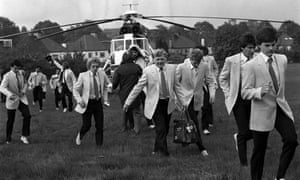 <strong>1983 Brighton and Hove Albion v Manchester United</strong> Brighton players leave the helicopter which brought them from Purley to a school playing field in East Wembley to board a coach for their journey to the stadium. The Seagulls, playing in their first FA Cup final, drew 2-2, though they would have won if Gordon Smith had beaten United keeper Gary Bailey late in the match. Bailey's save forced a replay which United won 4-0