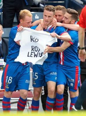 Inverness Caledonian Thistle's Marley Watkins, centre, celebrates scoring their first goal.